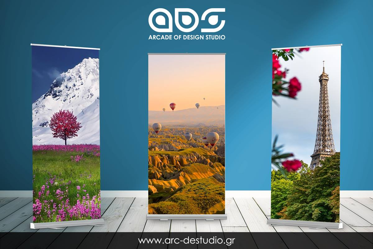 Roll-up stand banners για συνέδρια και events